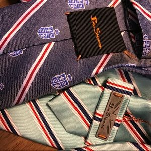 Lot of 2 $125 Ben Sherman Ties 100% silk